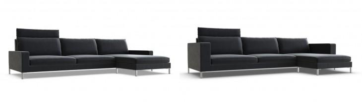 Sofá de tres plazas con chaise longue
