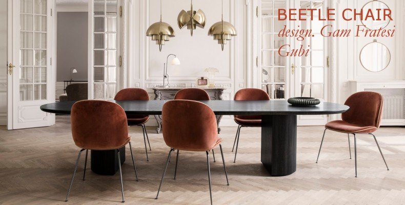 Gubi Randaccio Mirror Beetle Chair Moon Dining Tablel
